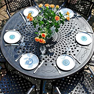 Lazy Susan Amelia 150cm Tisch Gartenmöbelset - 1 AMELIA Tisch + 6 APRIL Stühle
