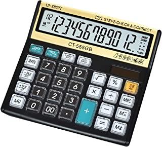 SaleOn™ Financial and Business Office Calculator with Large LCD Display and Acrylic Protected Mirror Buttons(Black&Gold)-803