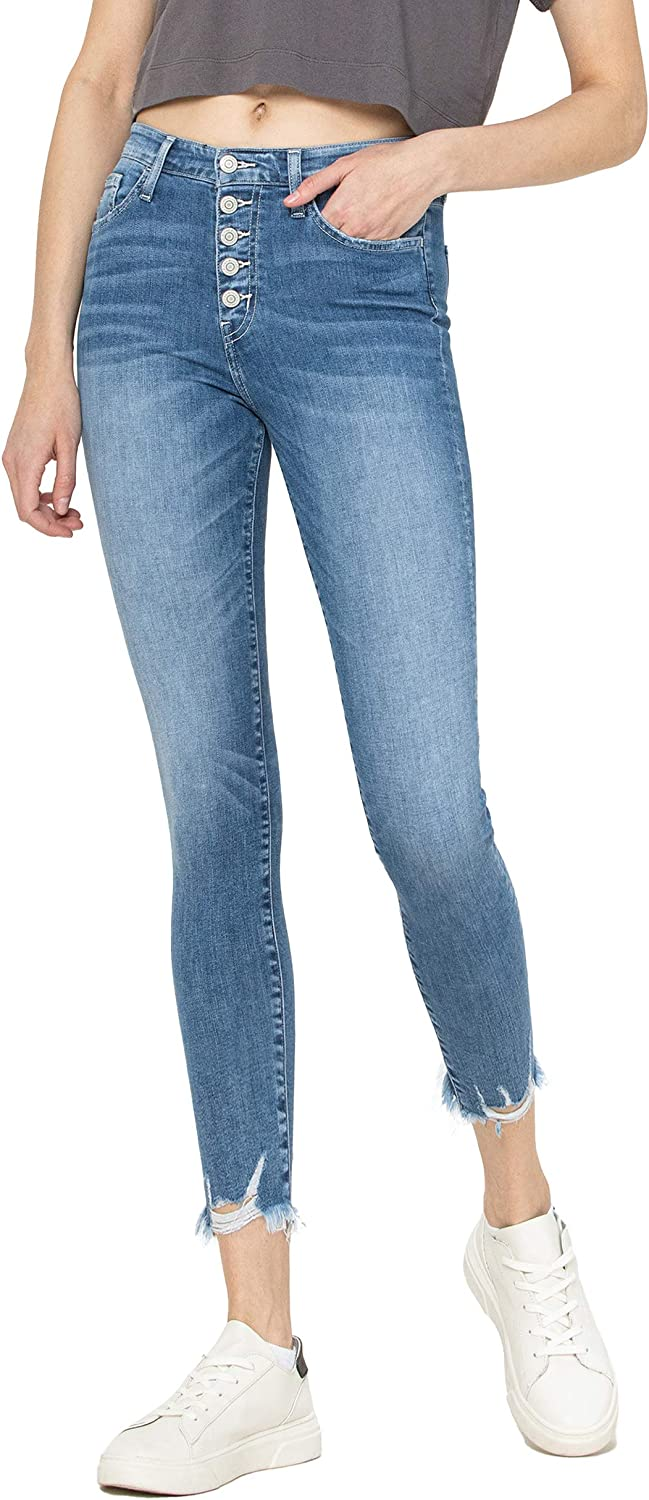 Flying Monkey Mid Free Shipping New Rise Button Up Hem Jean Crop Max 68% OFF Distressed Skinny