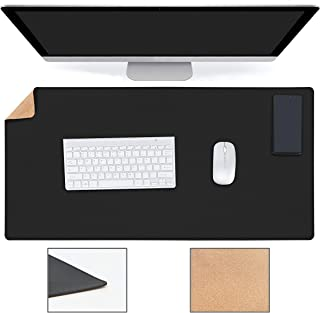 "YSAGi Multifunctional Office Desk Pad, Ultra Thin Waterproof PU Leather Mouse Pad, Dual Use Desk Writing Mat for Office/Home (31.5"" x 15.7"", Cork+Black)"