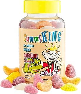 Gummi King Calcium Plus Vitamin-D Supplement, Strawberry/Lemon/Orange/Grape/Cherry/Grapefruit, 60 Count