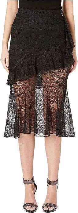 High-Waisted Midi Length Lace Skirt