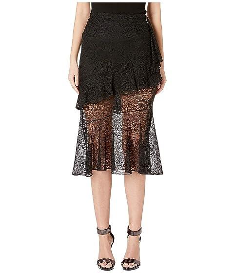 Cushnie High-Waisted Midi Length Lace Skirt