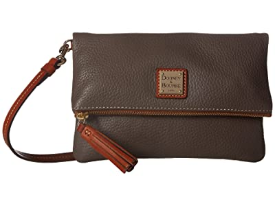 Dooney & Bourke Pebble Fold-Over Zip Crossbody (Elephant w/ Tan Trim) Cross Body Handbags