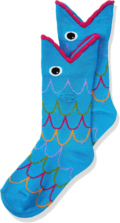 K. Bell Socks unisex child Novelty Wide Mouth Crew Hosiery, Turquoise Fish, Shoe Size 7-13 US
