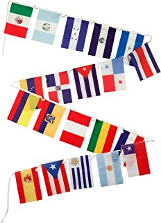Spanish Language Country Flags for The Classroom - 18 Latin American Countries Plus Spain, Puerto Rico & (New) Equatorial Guinea - Set of 21, Polyester, 12 x 18 Inches