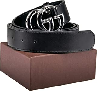 b3bf63c5e Luxury Gold Silver Buckle GG Black genuine Leather Unisex Belt for Men or  Women Pants