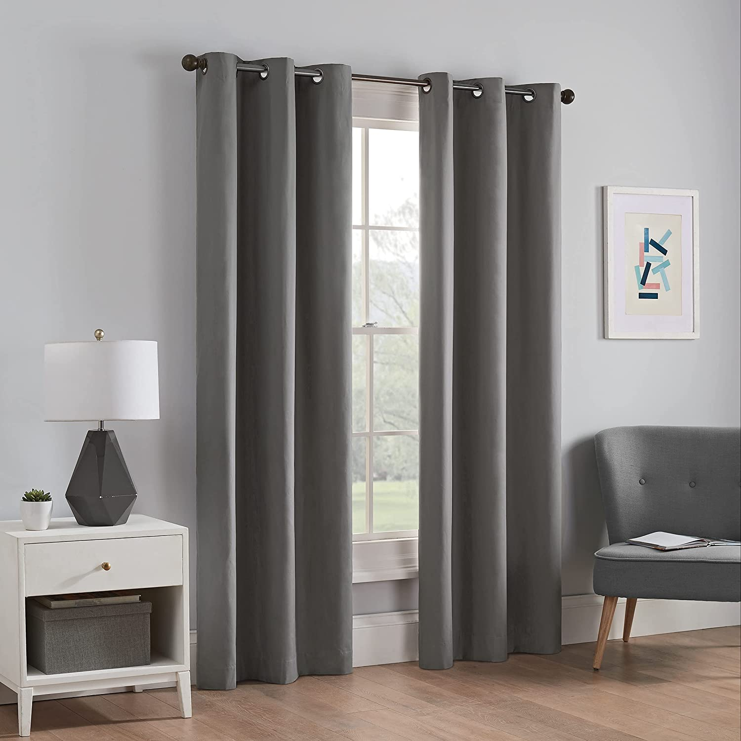 ECLIPSE Microfiber Thermal Insulated Single Panel Grommet Top Darkening Curtains for Living Room, 42