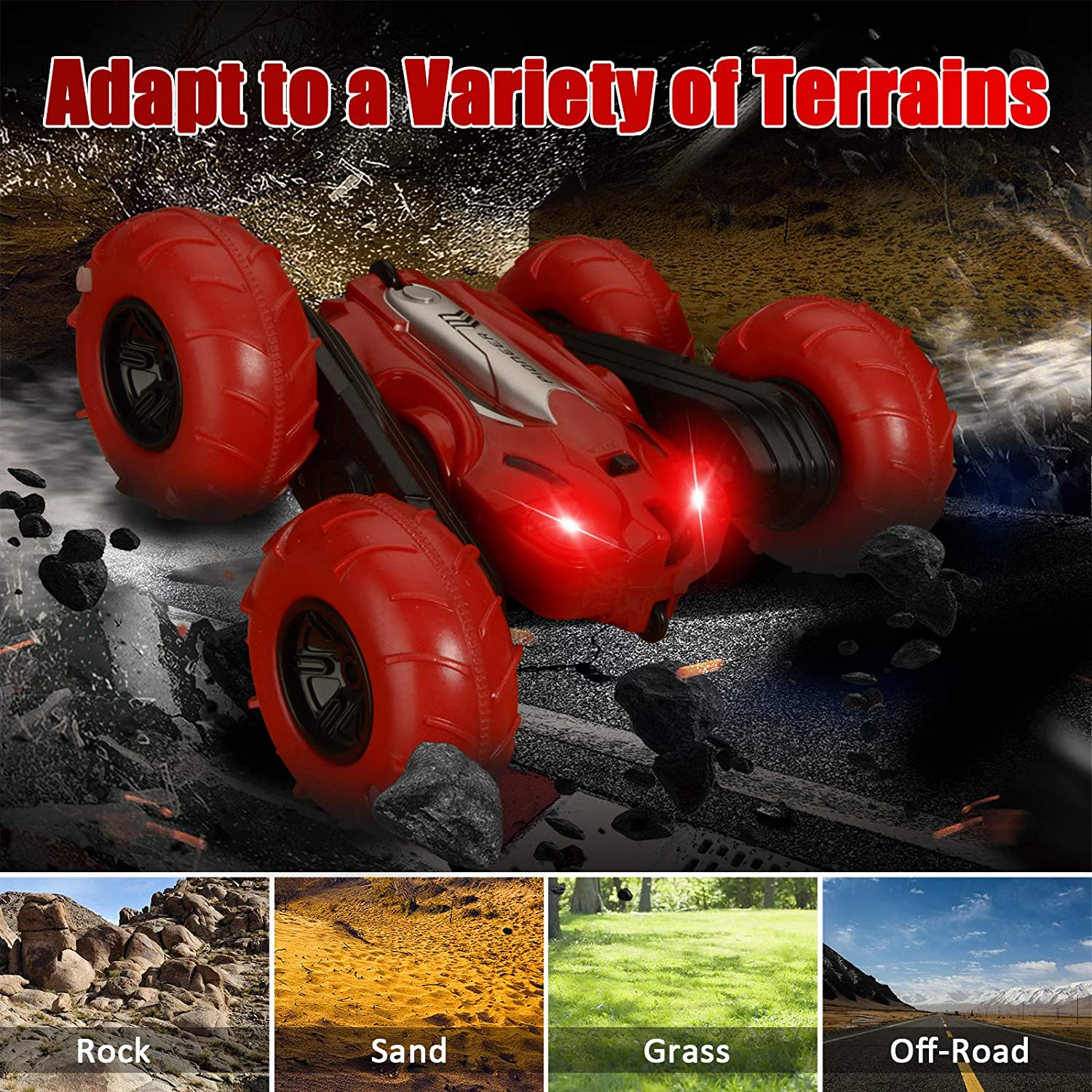 4WD 2.4Ghz RC Cars Double-Sided Rotating Vehicles 360 Flips Red ...