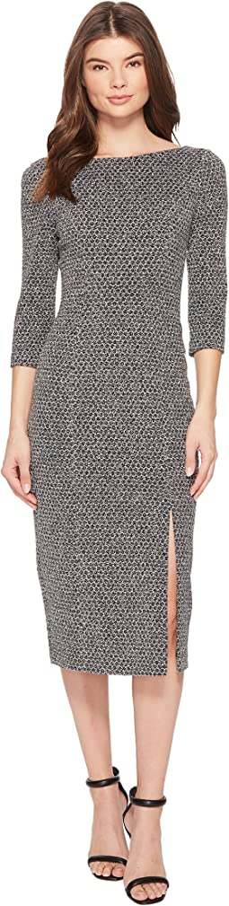 Adrianna Papell - Three Quarter Sleeve Stretch Metallic Knit Dress