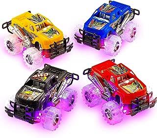 2 Pack Push n Go Toy Light Up Monster Truck Pullback Racer Cars, Light Up Wheals, Pullback Trucks Toys for Boys, Best Gift for Kids, by 4E's Novelty