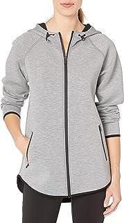 Amazon Essentials Women's Longer Length Tech-Sport Knit Full-Zip Hooded Jacket
