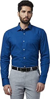 Park Avenue Checkered Cotton Dark Blue Slim Fit Cutaway Collar Full Sleeve Shirt