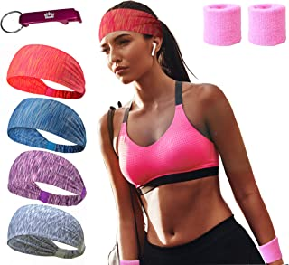 MEJAWDA Women Headbands 4 PACK Double Sleeved Soft and Stretchy Yoga Tennis Gym with 2 x Wrist Sweat band supports and Bon...