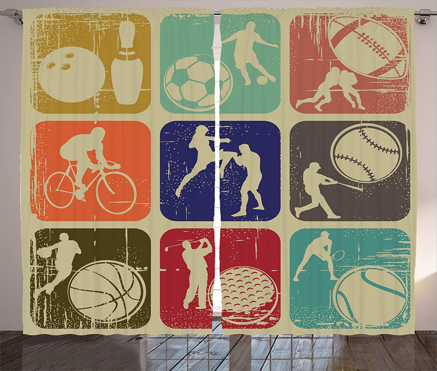 Sports 2021 model Curtains Genuine Free Shipping Assorted Banners Vintage Te Grunge Effect