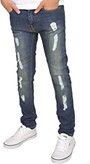 SK-1 Apparel Boys/Kids/Youths Super Skinny Stretch Ripped Distressed Faded Jeans