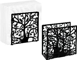MyGift Set of 2 Black Metal Tree & Bird Design Tabletop Napkin Holder
