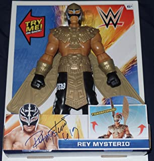 Rey Mysterio Signed Auto'd Action Figure Bas Coa Wwe Ecw Wcw Aaa Lucha Mask B - Beckett Authentication