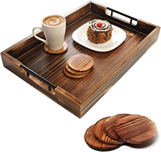 Amarezo Ottoman Tray with 4 Coasters - 20 Inch x 14 Inch Serving Tray, Charcuterie, Cheese - Platter for Breakfast in Bed,...