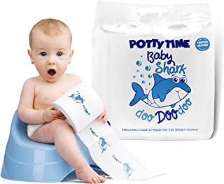 Official Baby Shark Potty Training Toilet Paper, 4 Big Rolls, Plant-Based Coloring, Great for Kids Party, Tables for Backdrop Decorations at Birthday Parties, Novelty Gift, by WHOLEROLL