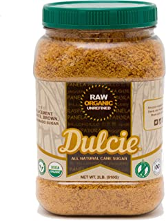 Dulcie Organic Raw Unrefined Natural Pure Cane Sugar (2 LB Jar) - Gluten Free, Vegan and Non-GMO