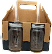 Rae Dunn by Home Essentials Mason Jars Drinking Glasses with Metal Lids and Hard Plastic Straws Glassware-Set of 4-15fl oz-