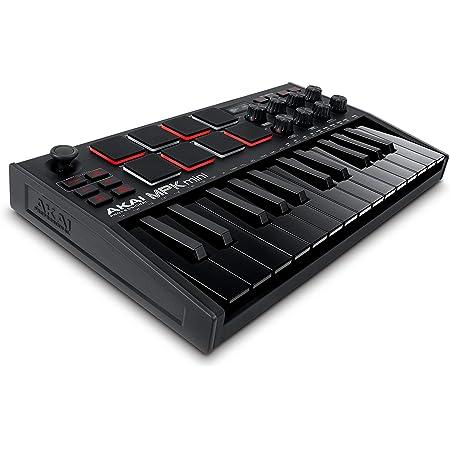 Akai Professional MPK mini mk3 – 25鍵USB MIDIキーボードコントローラー 8つのベロシティ対応バックライト付パッド/8個のロータリー・エンコーダーノブ搭載、音楽制作ソフトウェア付属