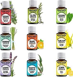 WishCare® Essential Oil 9 In One Pack |Undiluted & Natural | Lemon Grass, Lemon, Lavender, Orange, Tea Tree, Peppermint, E...