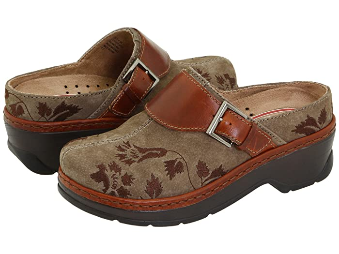Retro Vintage Flats and Low Heel Shoes Klogs Footwear Austin Taupe Suede Tapestry Womens Clog Shoes $129.95 AT vintagedancer.com
