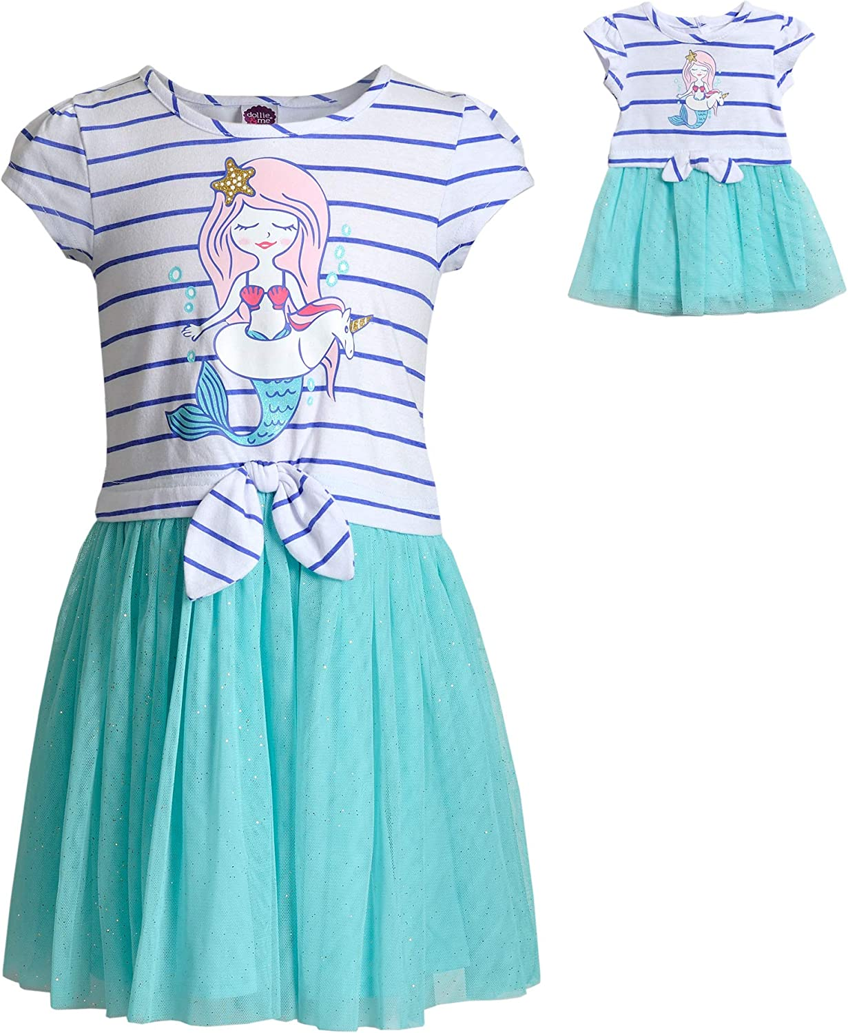 Dollie & Me Mermaid Dress Set with Matching Outfit-Girl & 7 Inch Doll  Clothes