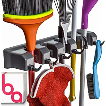 Berry Ave Broom Holder and Garden Tool Organizer Rake or Mop Handles Up to 1.25-Inches, 1 Pack, Black