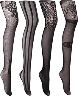 c5f7b70b0 Joyaria Womens Sexy Suspender Tights Fishnet Thigh-High Garter Stockings  Pantyhose Black Pattern 4 Pack
