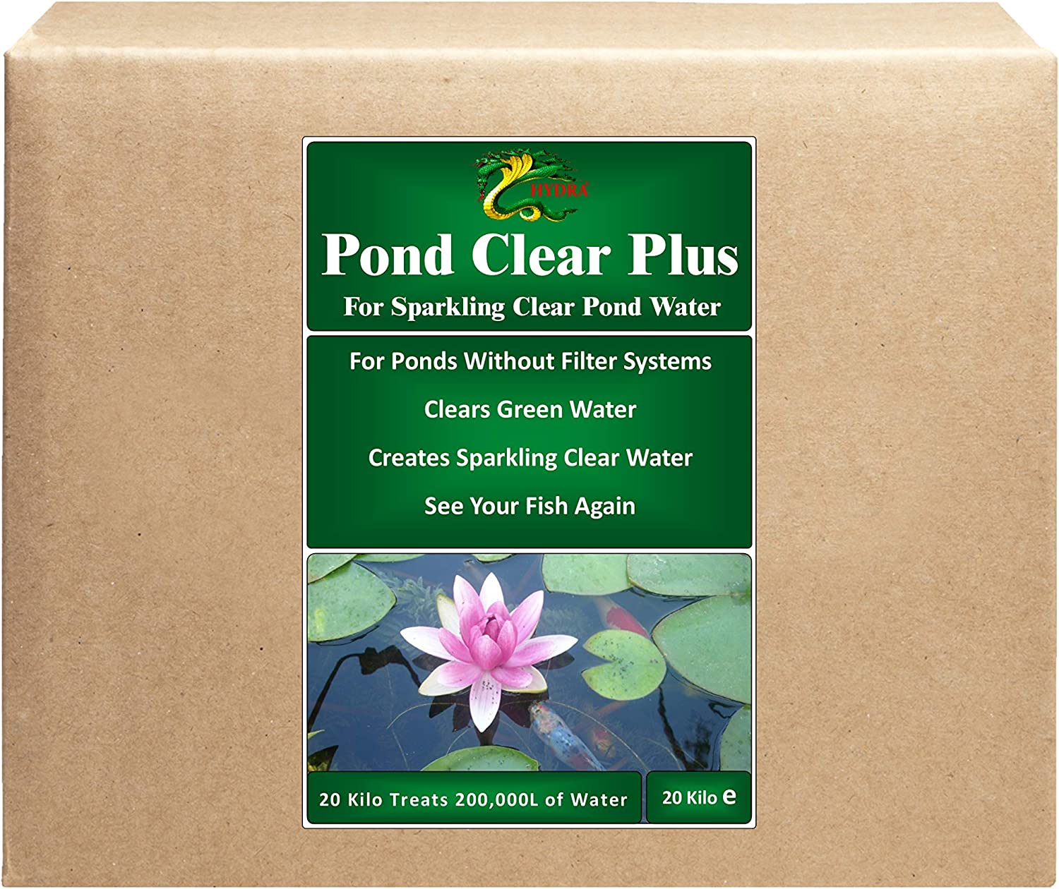 HYDRA POND CLEAR PLUS 3x20KG Clear Green Water in Ponds without External Filter, Treatment Dilution 1 10,000