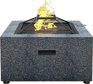 3-i-1 fyrkantig spis för grillning, eldning och grillning med stålgrill med stålfälg av konstgjord sten
