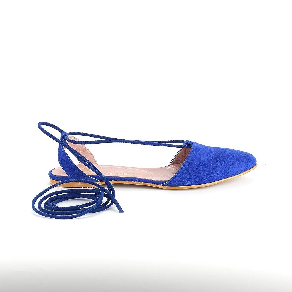 Girl Boss New York Women's 100% Handmade Suede Navy Sandals