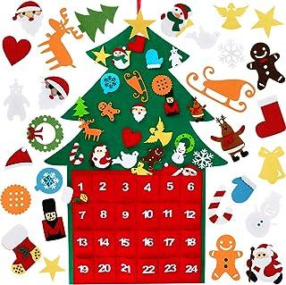 WOSTOO Filt julgran, gör-det-själv julgran 30 paket vägghängande julgran med kalender ficka hem dörr väggdekoration för barn