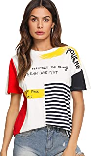 SheIn Women's Graphic Cute Short Sleeve Crewneck T-Shirt Casual Letter Print Top