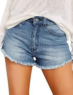 Women's High Waisted Removable Belt Sewn Cuff Wide Leg Denim Jean Shorts