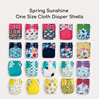 20 KaWaii Baby One Size Printed Snap Pocket Cloth Diaper Shells/Spring Sunshine Theme/Newborn to Toddler Reuseable Leak Protection