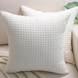 روکش بالش BEBEN - مجموعه ای از 2 روکش بالش 20x20 ، روکش های تزئینی بالش یورویی ، راه راه ذرت ، کوسن کوسن نرم ، دکوراسیون خانه برای کاناپه ، تختخواب ، مبل ، اتاق خواب ، ماشین (سفید کرم ، 20X20)