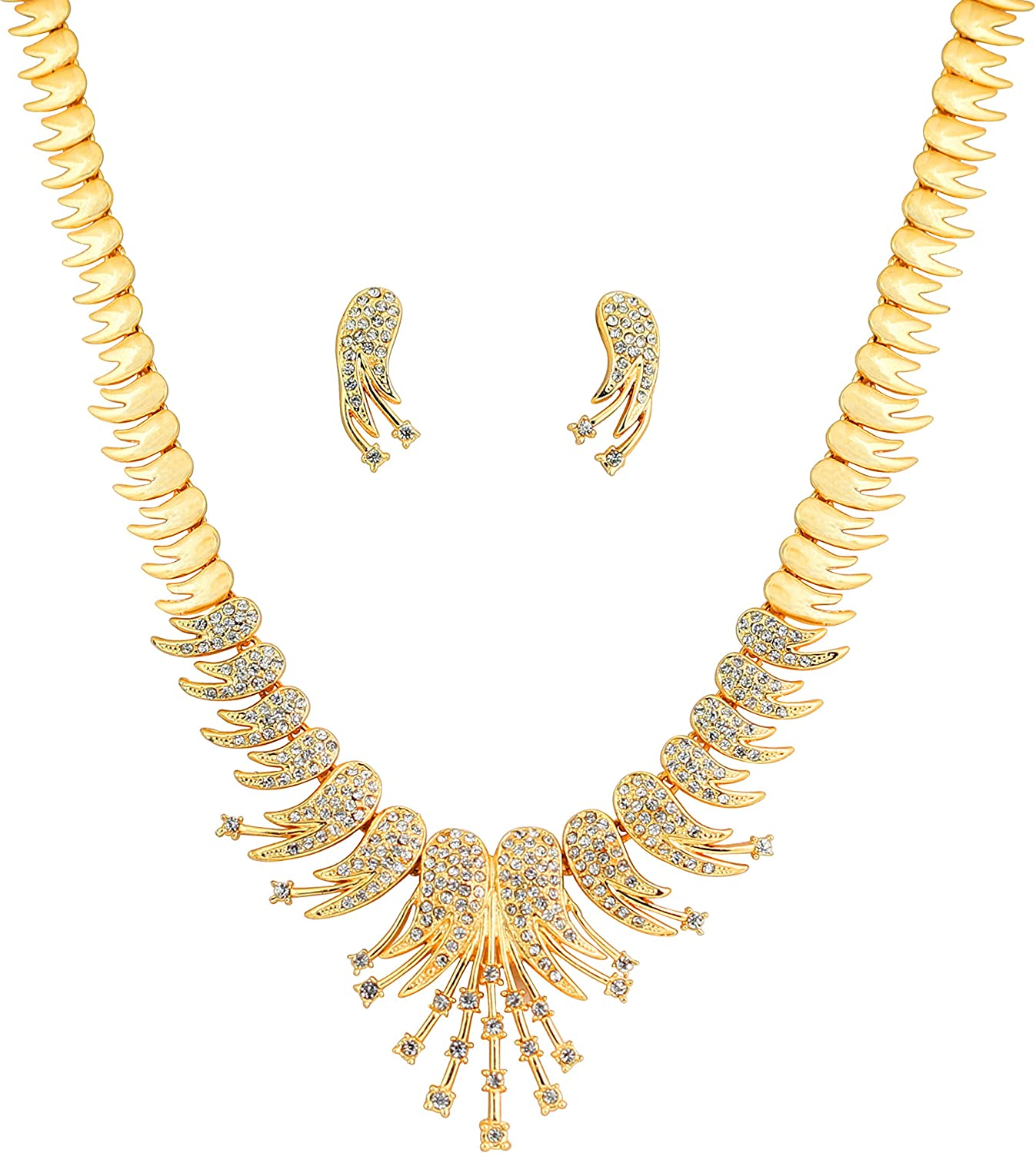 Touchstone Hollywood Glamour Jazzy and Sparkling Feather Theme White Rhinestone Bridal Designer Jewelry Necklace Set for Women