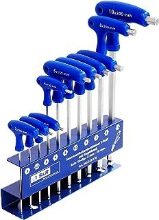 S&R Insexnyckelar, sexkantsnycklar set, HX, 10 st. 2 mm – 10 mm, S2 verktygsstål, T-handtag, med kulhuvud, metallverktygsh...