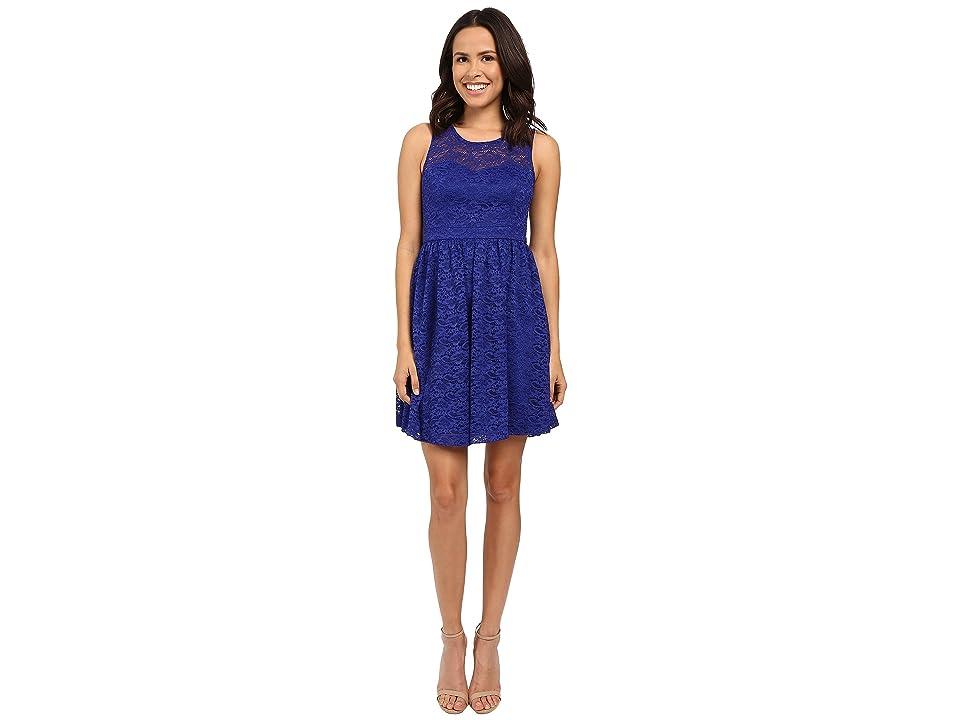 Jessica Simpson Floral Lace Fit and Flare Dress JS6D8645 (Blue Violet) Women