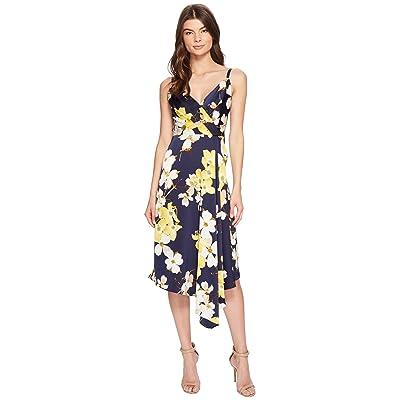 Maggy London Dogwood Blossom Draped Slip Dress (Navy/Yellow) Women