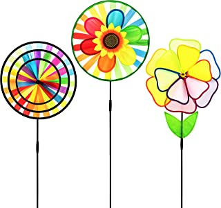 Dreamline Product Garden Pinwheel 3 Pack Made of Durable 100% Weatherproof Nylon and Fiberglass | Rainbow Colored Spinner for Gardens Dance in The slightest of breezes.