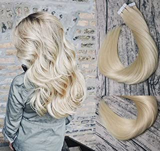 Tape In Hair Extensions Human Hair 8A 20pcs 50g Per Set #613 Bleached Blonde Remy Hair Extensions Seamless Skin Weft Remy Silk Straight Hair Glue in Extensions Glue in Extensions Human Hair 18 Inch