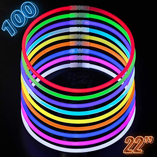 Glow Sticks Bulk Party Supplies - 100 Light Stick Necklaces - Extra Bright Glow In The