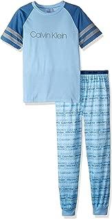 Calvin Klein Boys' 2 Piece Sleepwear Long Sleeve Top and Bottom Pajama Set Pj