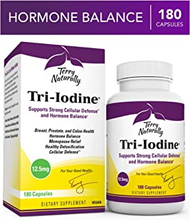 Terry Naturally Tri-Iodine 12.5 mg - 12500 mcg Iodine, 180 Vegan Capsules - Supports Hormone Balance, Promotes Breast & Prostate Health - Non-GMO, Gluten-Free, Kosher - 180 Servings