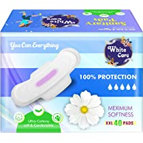 White Care 320 MM Extra Large Cottony Soft Cover Sanitary Pads For Women With Wings (20 pcs)